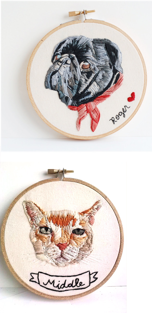 custom embroidered pet portrait by hoopla